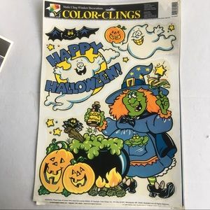 Vintage color clings Halloween window clings witch